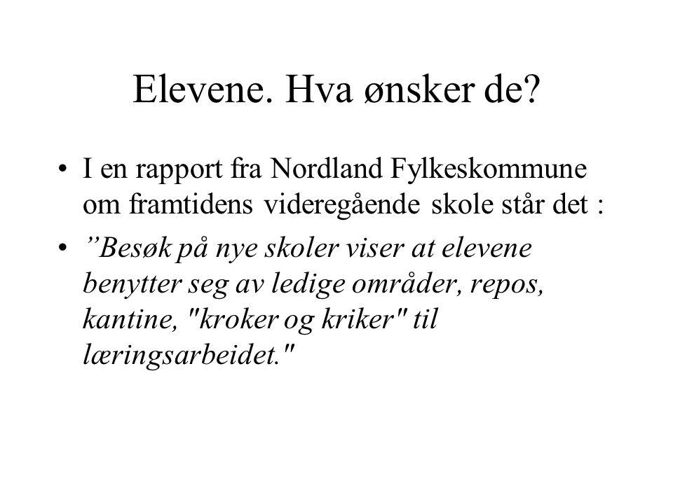 Elevene. Hva ønsker de I en rapport fra Nordland Fylkeskommune om framtidens videregående skole står det :