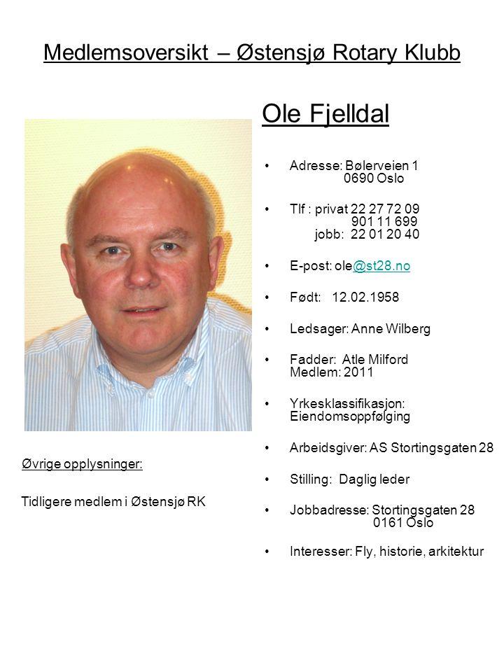 Medlemsoversikt – Østensjø Rotary Klubb Ole Fjelldal