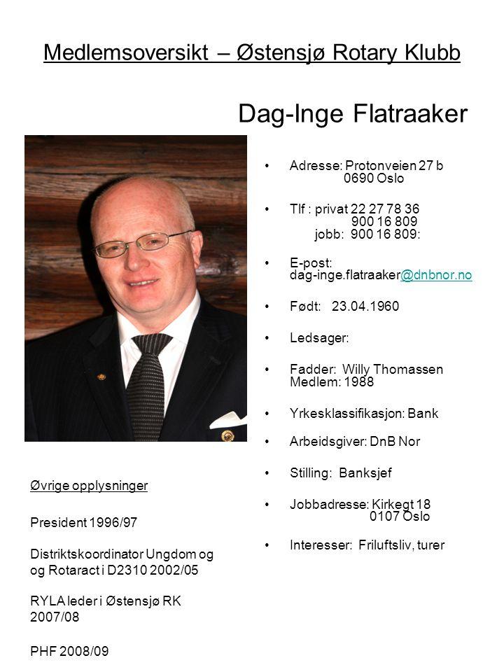 Medlemsoversikt – Østensjø Rotary Klubb Dag-Inge Flatraaker