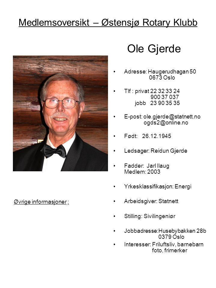 Medlemsoversikt – Østensjø Rotary Klubb Ole Gjerde