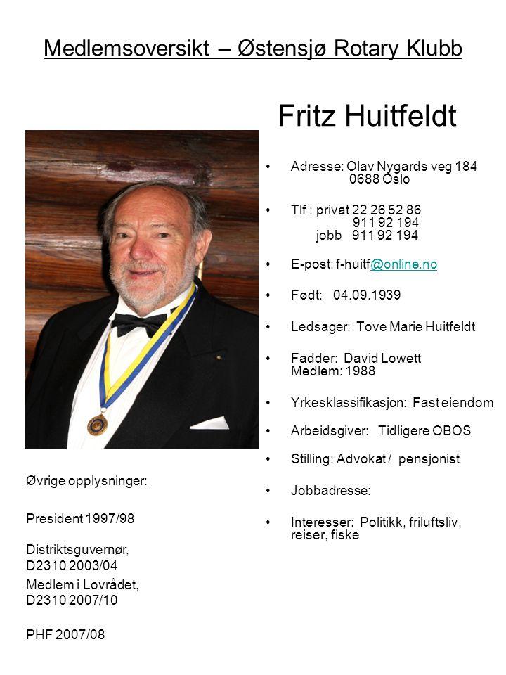 Medlemsoversikt – Østensjø Rotary Klubb Fritz Huitfeldt