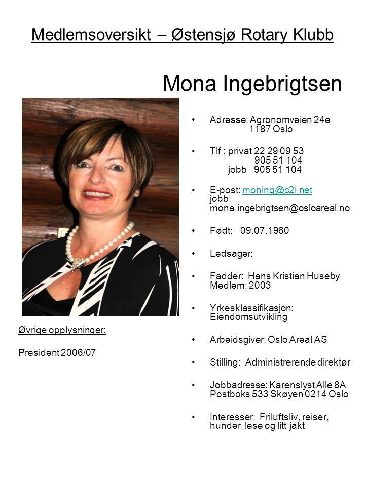 Medlemsoversikt – Østensjø Rotary Klubb Mona Ingebrigtsen