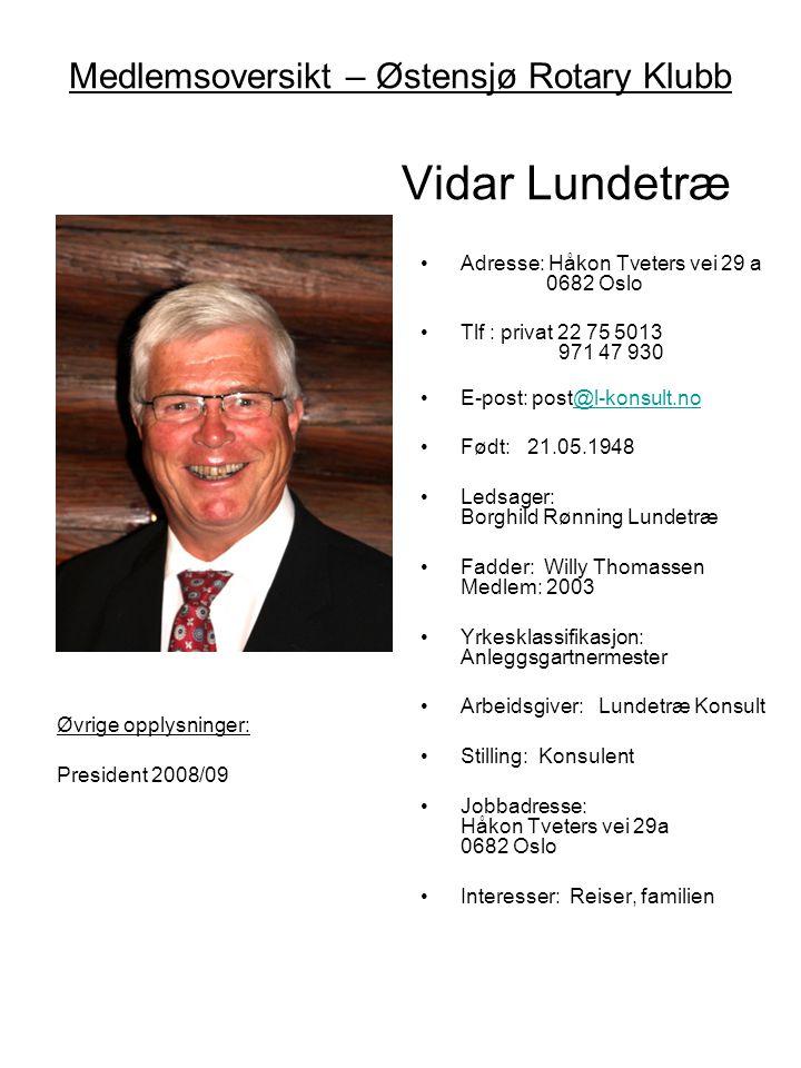 Medlemsoversikt – Østensjø Rotary Klubb Vidar Lundetræ