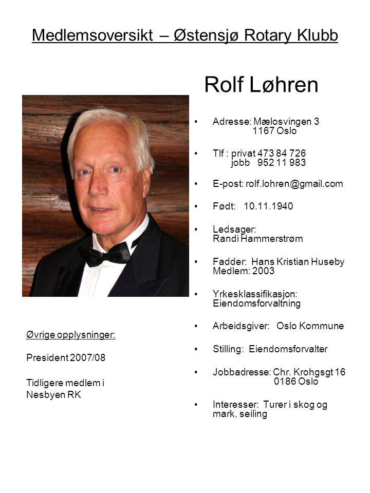 Medlemsoversikt – Østensjø Rotary Klubb Rolf Løhren