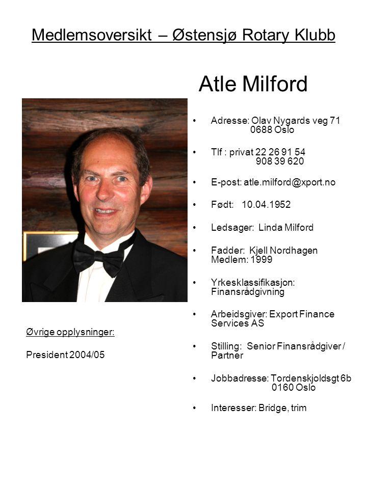 Medlemsoversikt – Østensjø Rotary Klubb Atle Milford