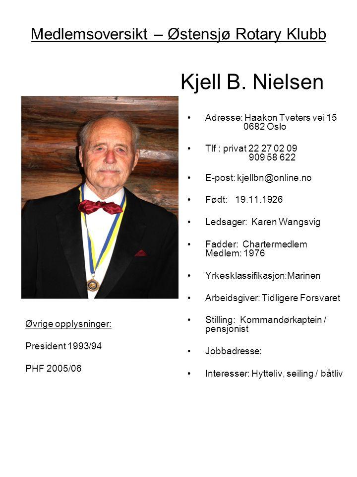 Medlemsoversikt – Østensjø Rotary Klubb Kjell B. Nielsen