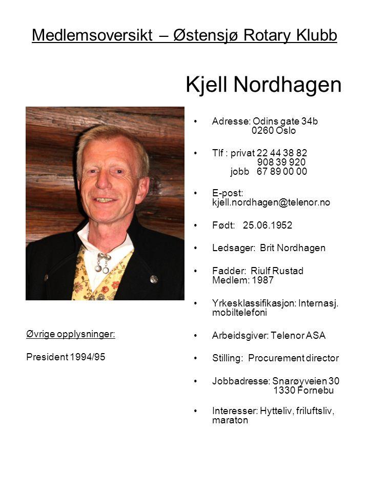 Medlemsoversikt – Østensjø Rotary Klubb Kjell Nordhagen