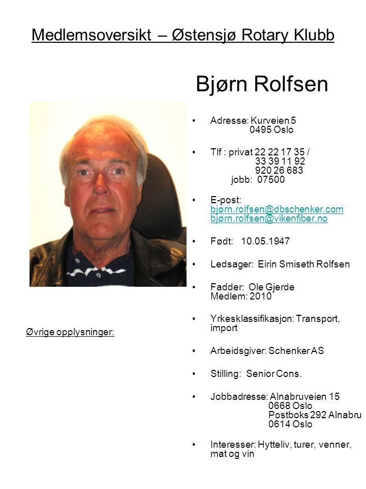 Medlemsoversikt – Østensjø Rotary Klubb Bjørn Rolfsen