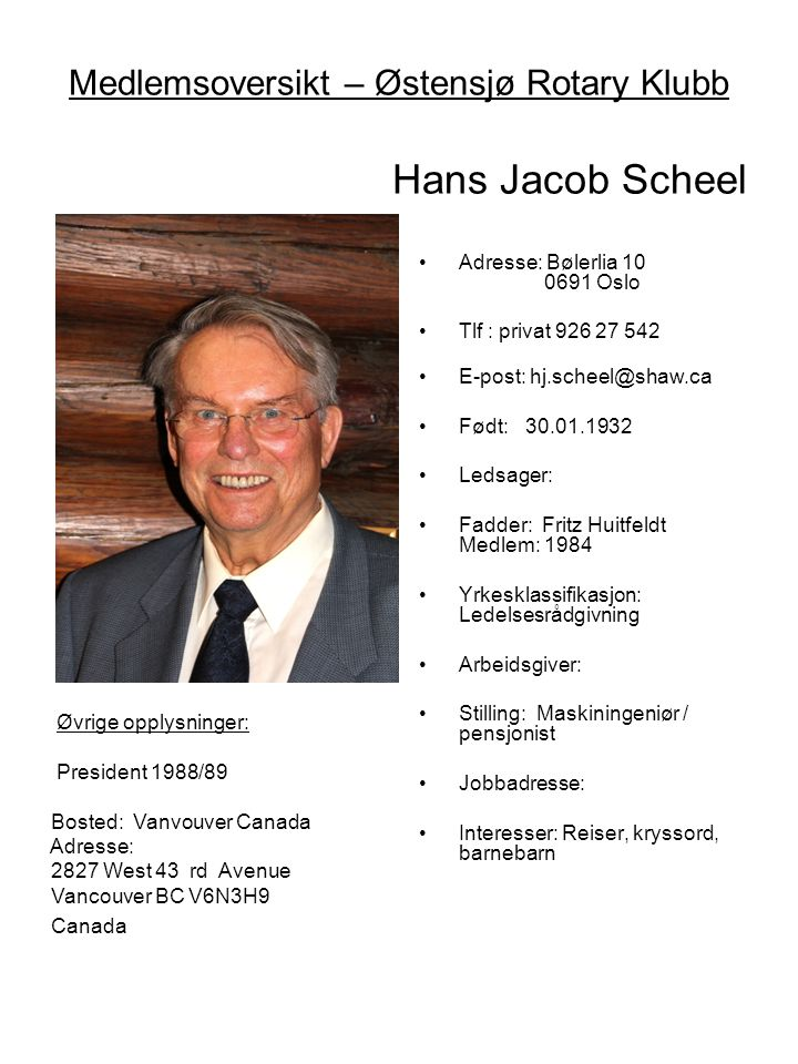 Medlemsoversikt – Østensjø Rotary Klubb Hans Jacob Scheel