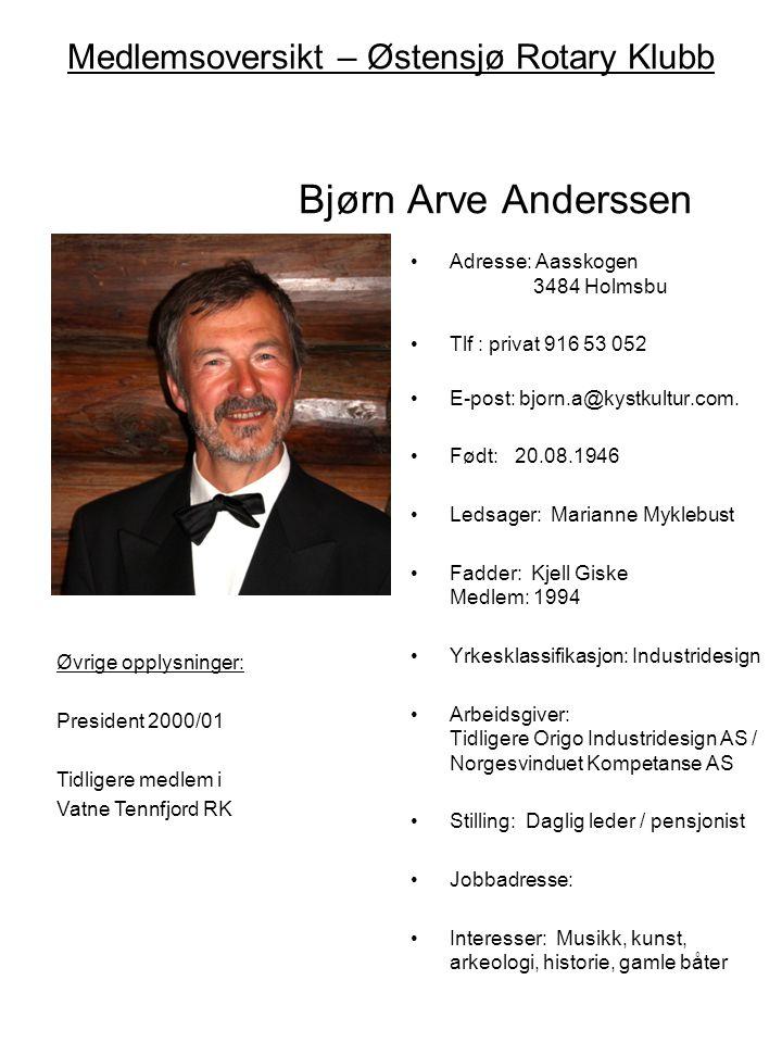 Medlemsoversikt – Østensjø Rotary Klubb Bjørn Arve Anderssen