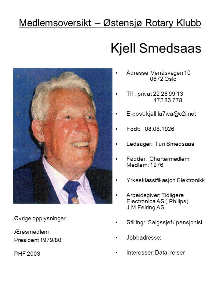 Medlemsoversikt – Østensjø Rotary Klubb Kjell Smedsaas