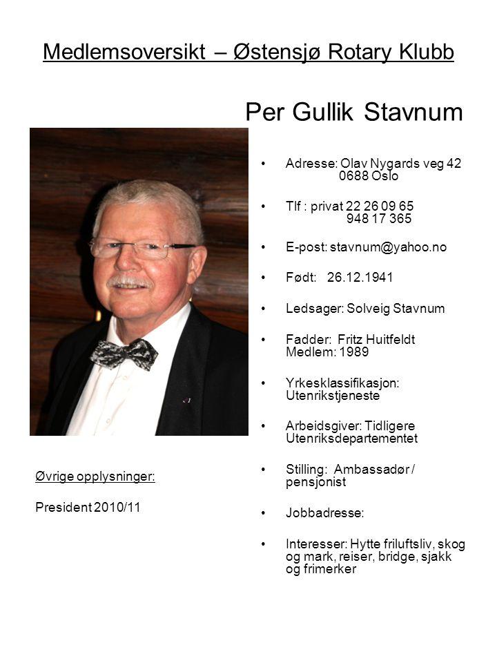 Medlemsoversikt – Østensjø Rotary Klubb Per Gullik Stavnum