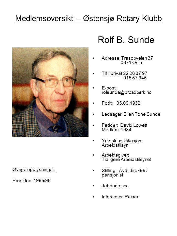 Medlemsoversikt – Østensjø Rotary Klubb Rolf B. Sunde