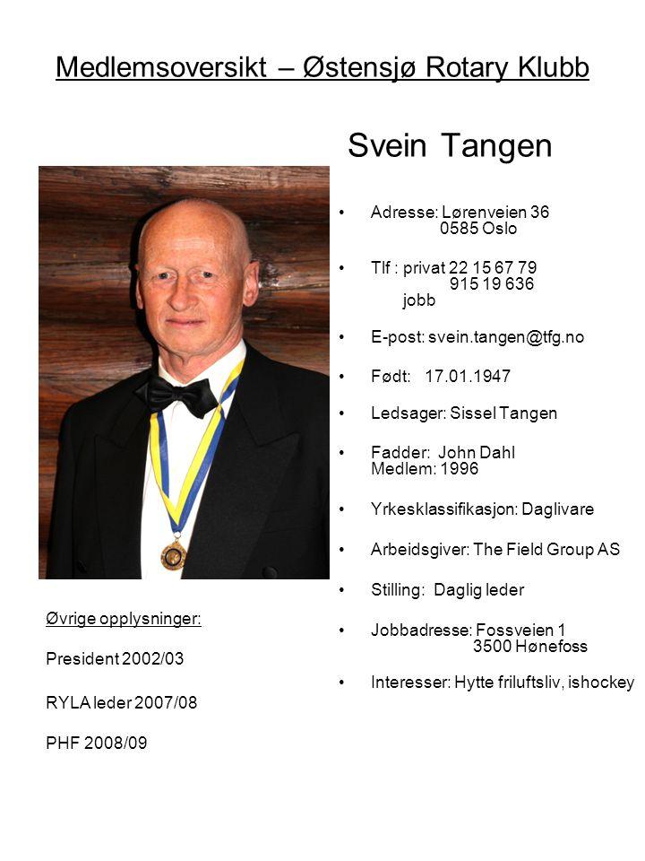 Medlemsoversikt – Østensjø Rotary Klubb Svein Tangen