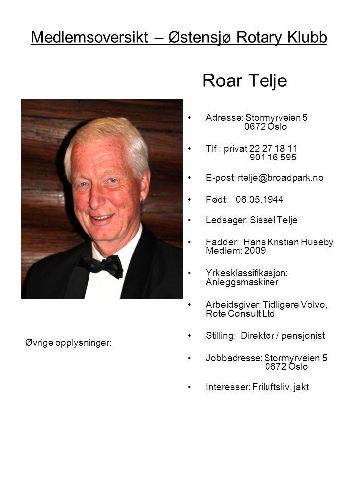 Medlemsoversikt – Østensjø Rotary Klubb Roar Telje