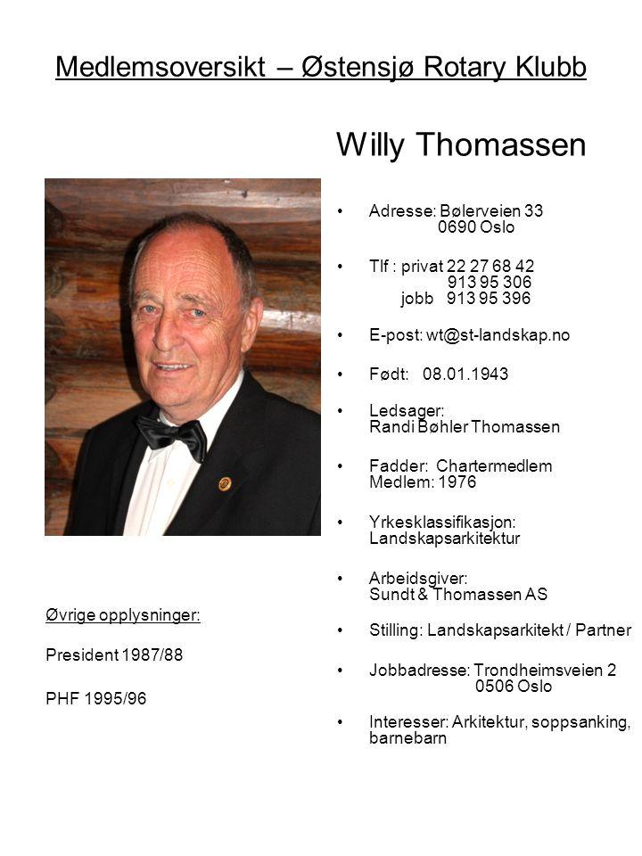 Medlemsoversikt – Østensjø Rotary Klubb Willy Thomassen