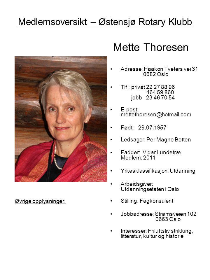 Medlemsoversikt – Østensjø Rotary Klubb Mette Thoresen