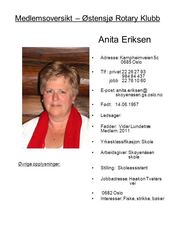 Medlemsoversikt – Østensjø Rotary Klubb Anita Eriksen