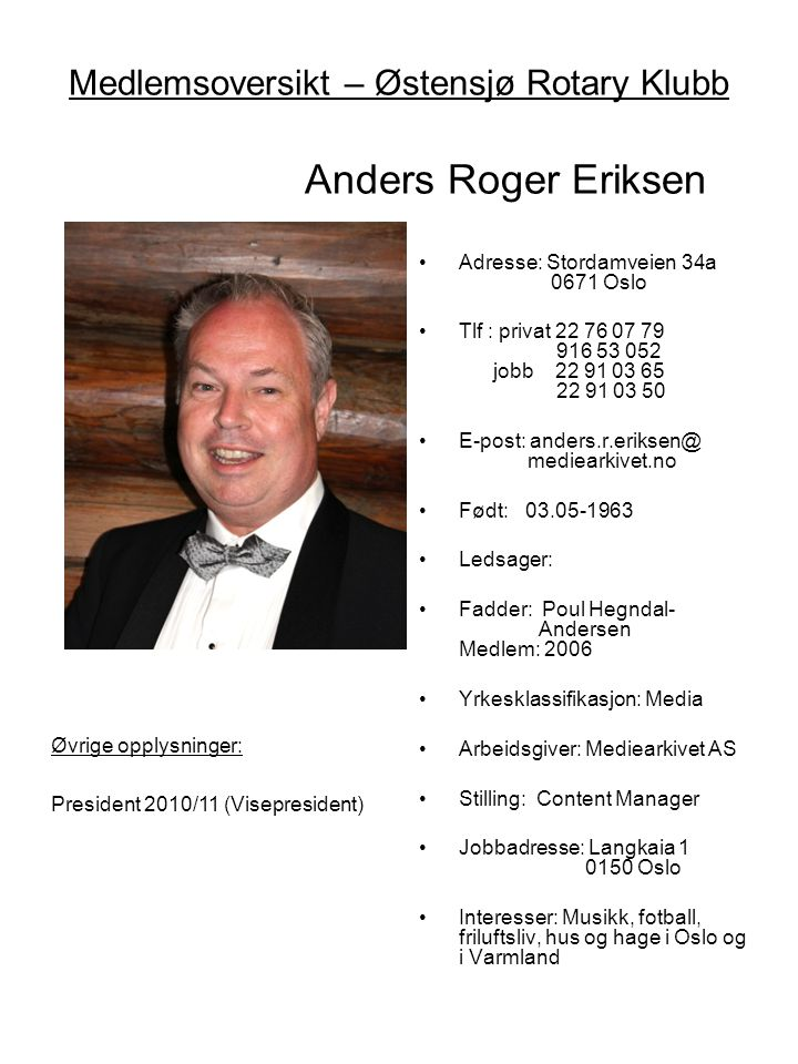 Medlemsoversikt – Østensjø Rotary Klubb Anders Roger Eriksen