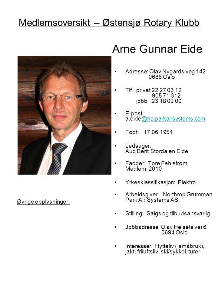 Medlemsoversikt – Østensjø Rotary Klubb Arne Gunnar Eide