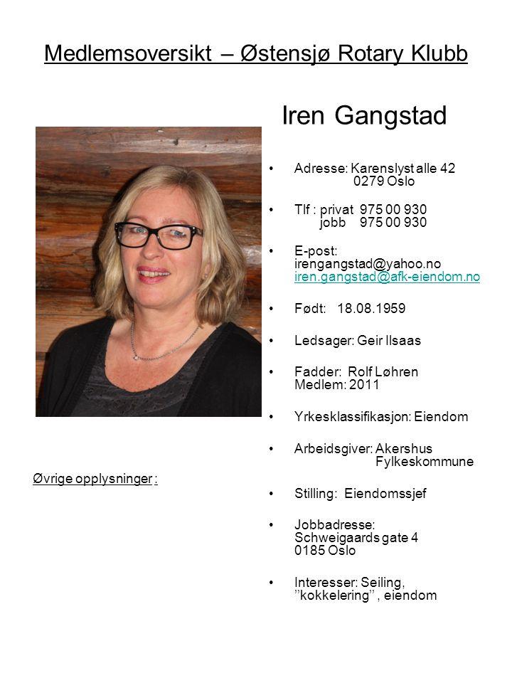 Medlemsoversikt – Østensjø Rotary Klubb Iren Gangstad