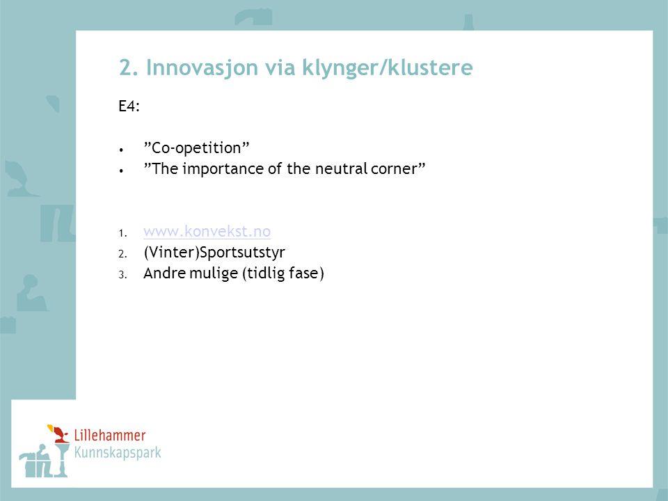2. Innovasjon via klynger/klustere