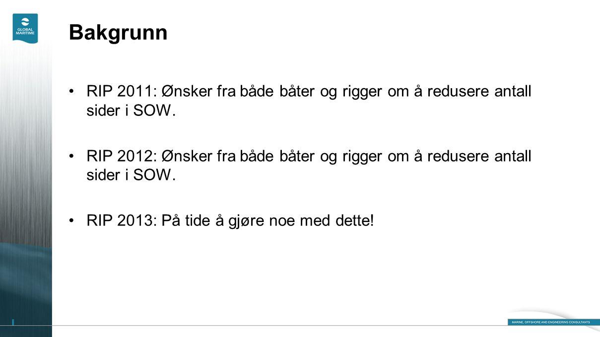 Bakgrunn RIP 2011: Ønsker fra både båter og rigger om å redusere antall sider i SOW.