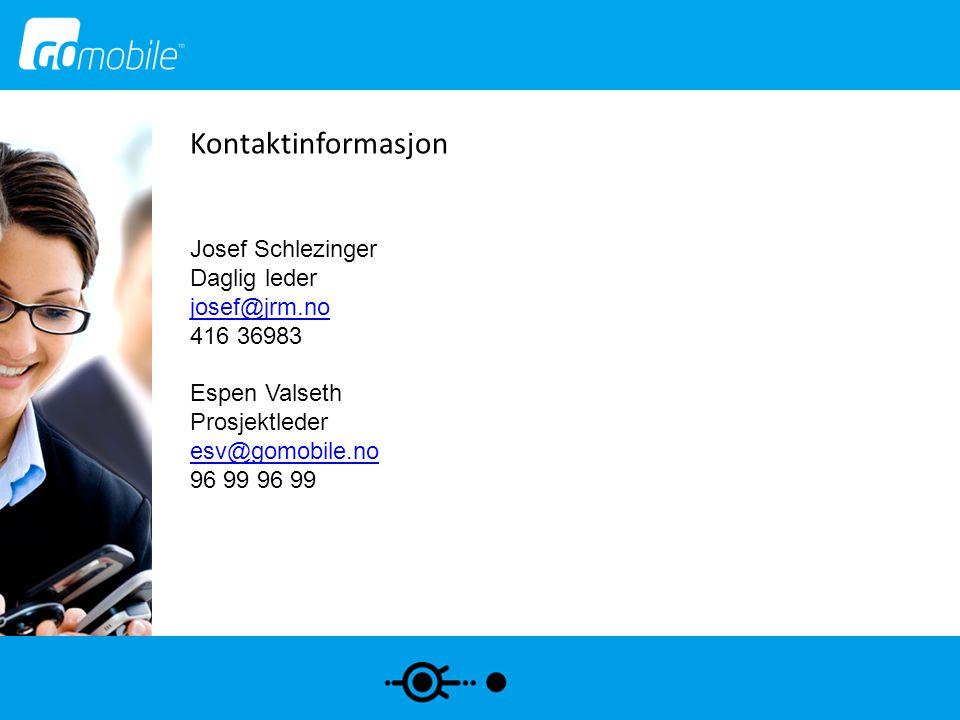 Kontaktinformasjon Josef Schlezinger Daglig leder josef@jrm.no