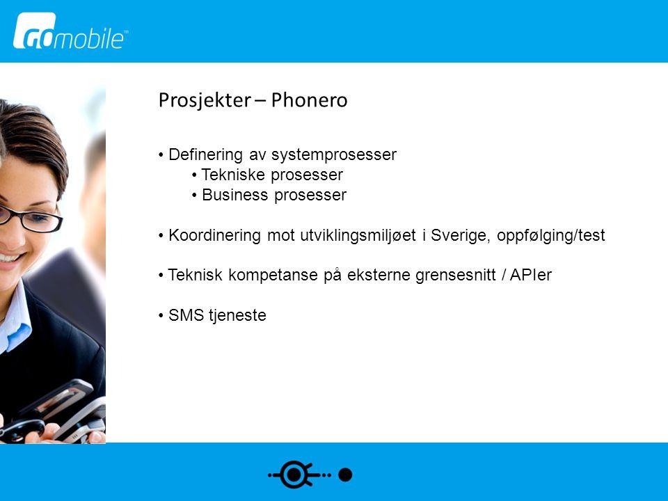 Prosjekter – Phonero Definering av systemprosesser Tekniske prosesser