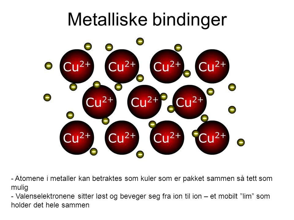 Metalliske bindinger Atomene i metaller kan betraktes som kuler som er pakket sammen så tett som mulig.