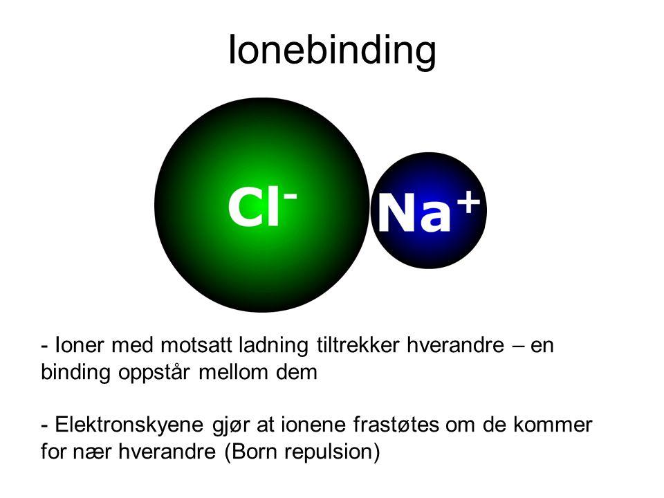 Ionebinding Ioner med motsatt ladning tiltrekker hverandre – en binding oppstår mellom dem.