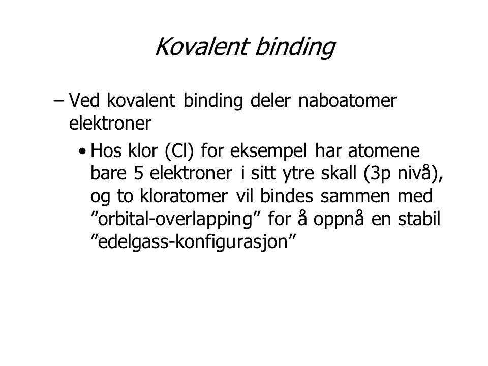 Kovalent binding Ved kovalent binding deler naboatomer elektroner