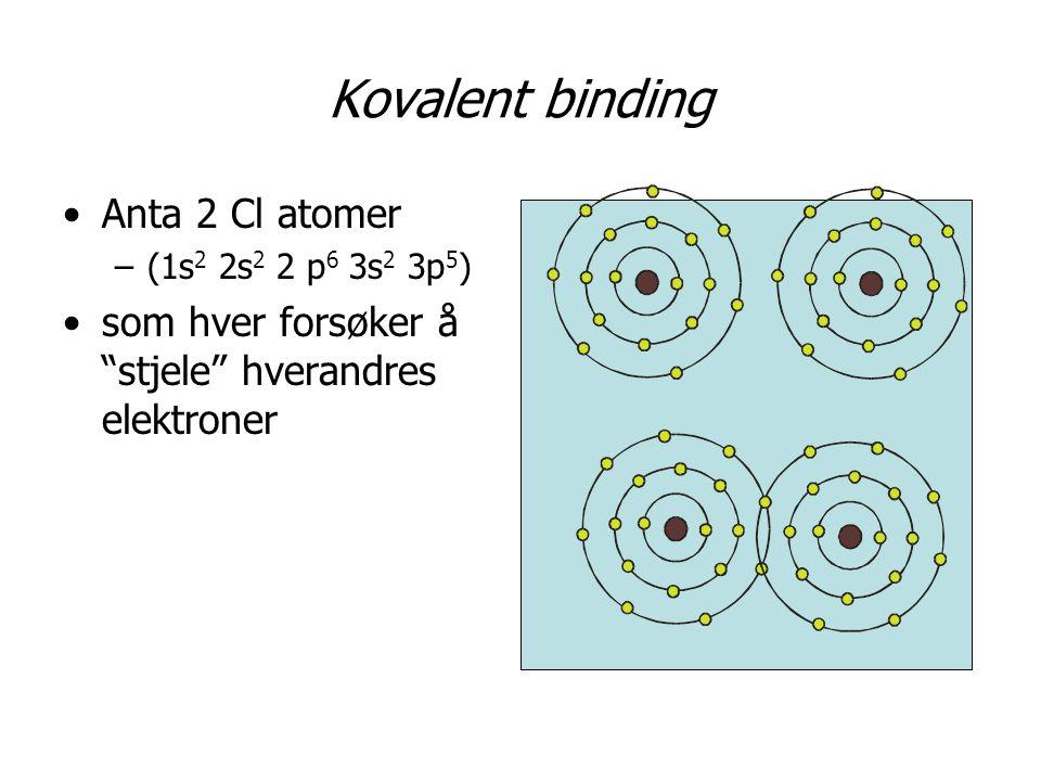 Kovalent binding Anta 2 Cl atomer