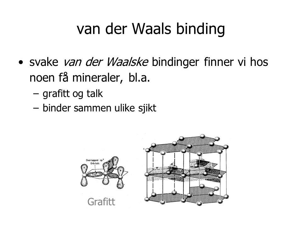 van der Waals binding svake van der Waalske bindinger finner vi hos noen få mineraler, bl.a. grafitt og talk.