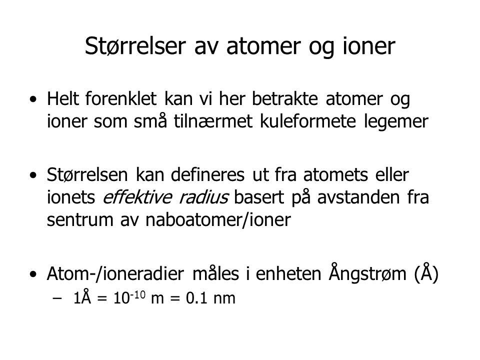 Størrelser av atomer og ioner