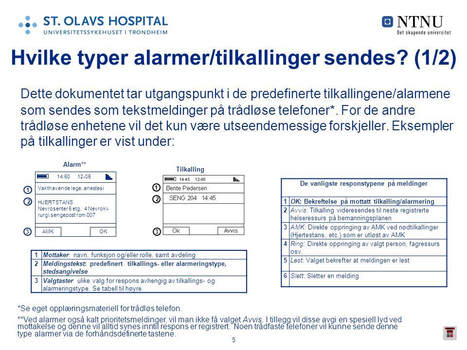 Hvilke typer alarmer/tilkallinger sendes (1/2)