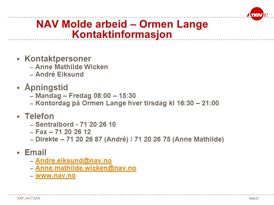 NAV Molde arbeid – Ormen Lange Kontaktinformasjon