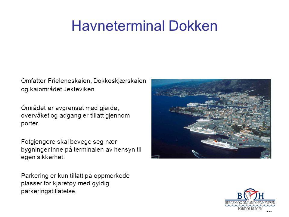 Havneterminal Dokken Omfatter Frieleneskaien, Dokkeskjærskaien og kaiområdet Jekteviken.