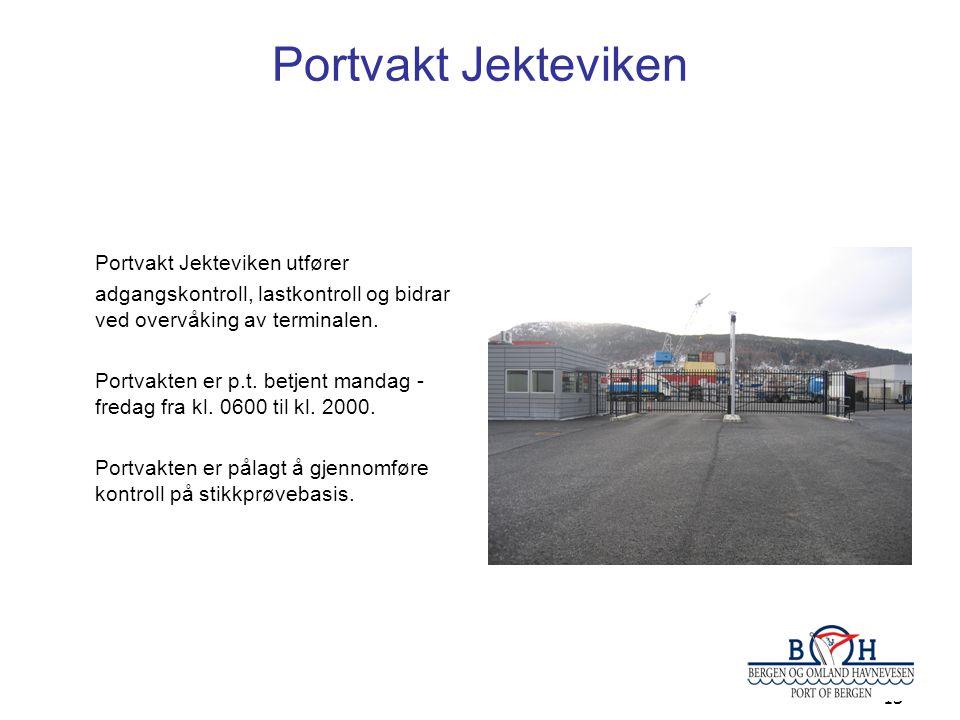 Portvakt Jekteviken Portvakt Jekteviken utfører adgangskontroll, lastkontroll og bidrar ved overvåking av terminalen.