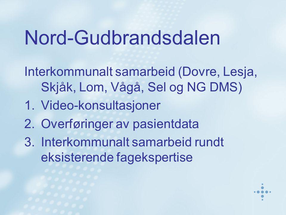 Nord-Gudbrandsdalen Interkommunalt samarbeid (Dovre, Lesja, Skjåk, Lom, Vågå, Sel og NG DMS) Video-konsultasjoner.
