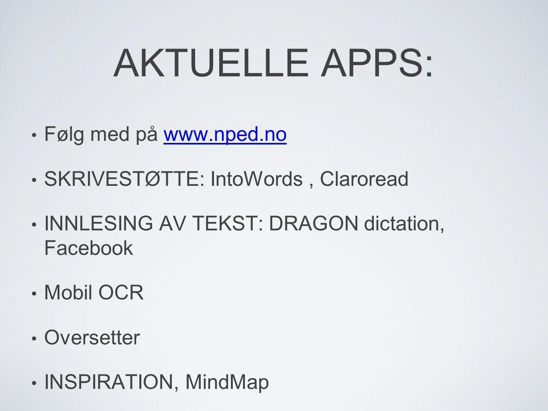 AKTUELLE APPS: Følg med på www.nped.no