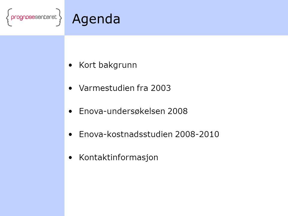 Agenda Kort bakgrunn Varmestudien fra 2003 Enova-undersøkelsen 2008