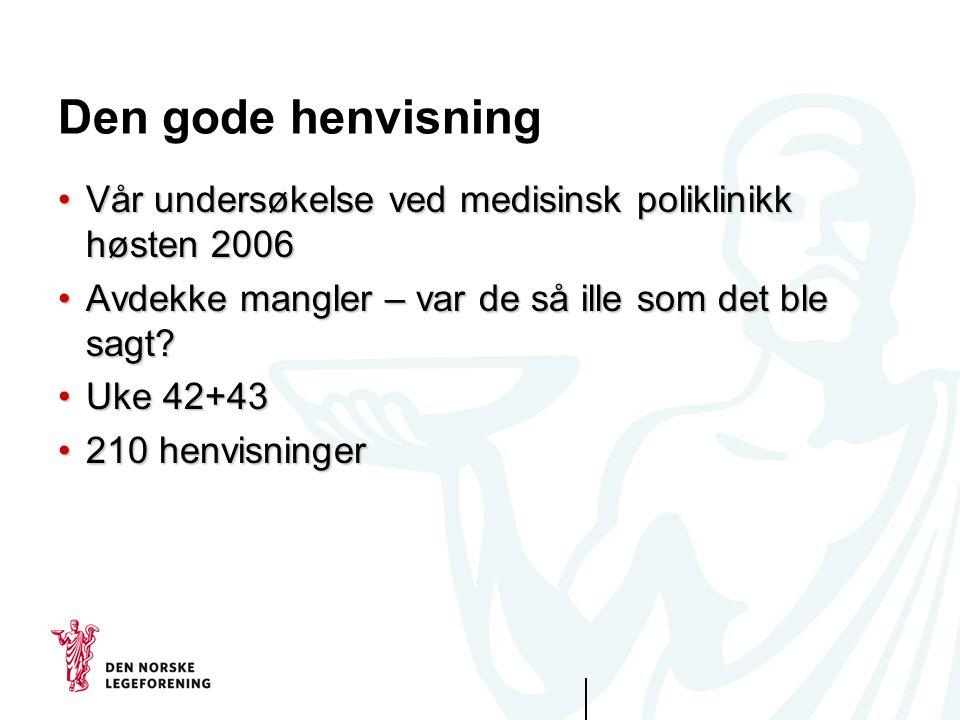 Den gode henvisning Vår undersøkelse ved medisinsk poliklinikk høsten 2006. Avdekke mangler – var de så ille som det ble sagt