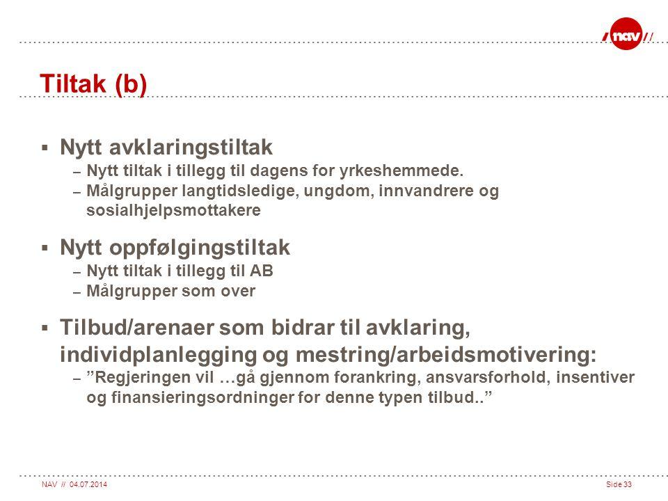 Tiltak (b) Nytt avklaringstiltak Nytt oppfølgingstiltak