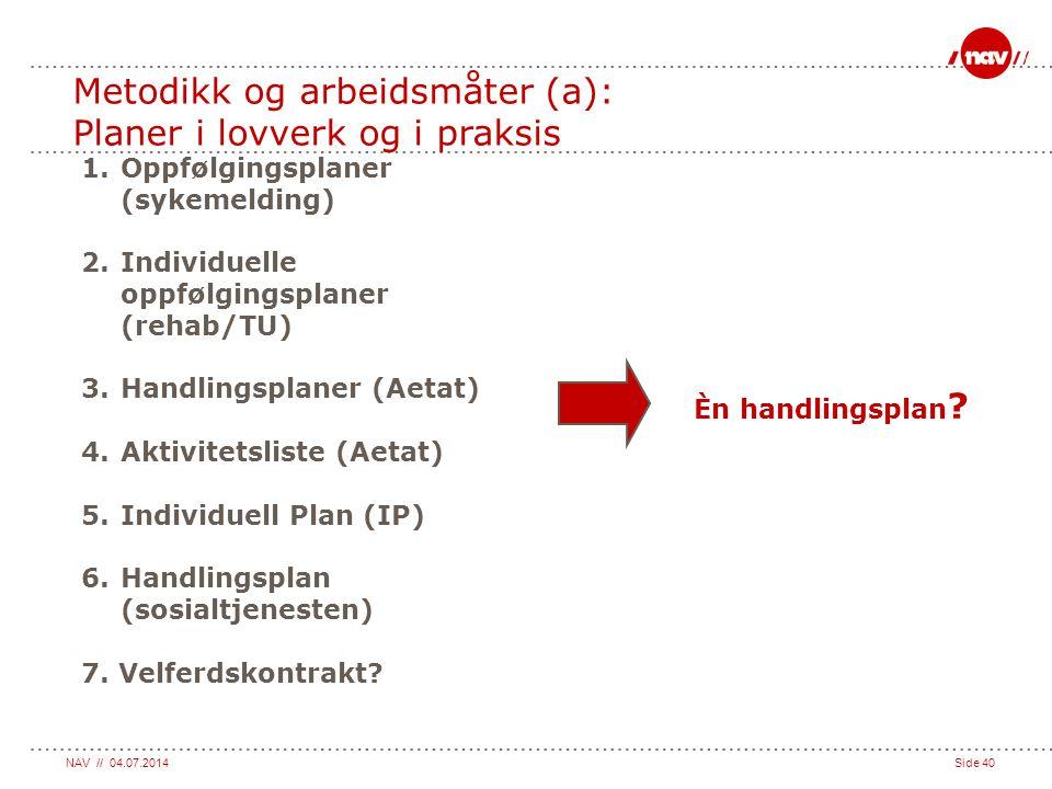 Metodikk og arbeidsmåter (a): Planer i lovverk og i praksis