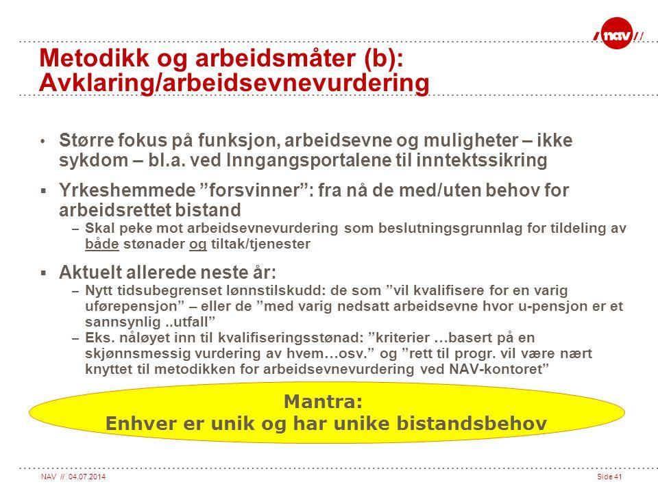 Metodikk og arbeidsmåter (b): Avklaring/arbeidsevnevurdering