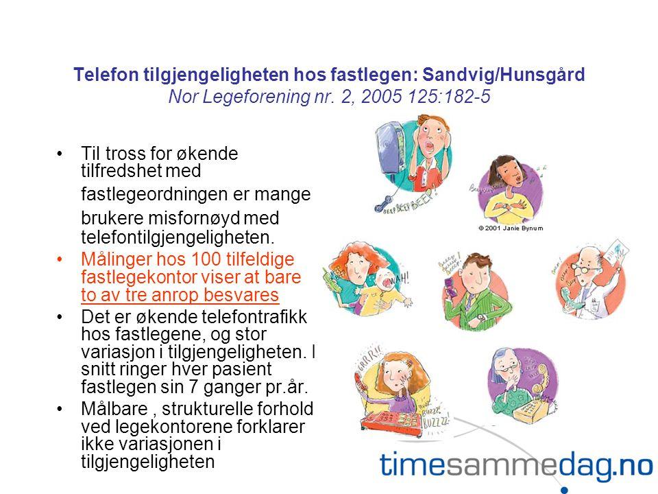 Telefon tilgjengeligheten hos fastlegen: Sandvig/Hunsgård Nor Legeforening nr. 2, 2005 125:182-5
