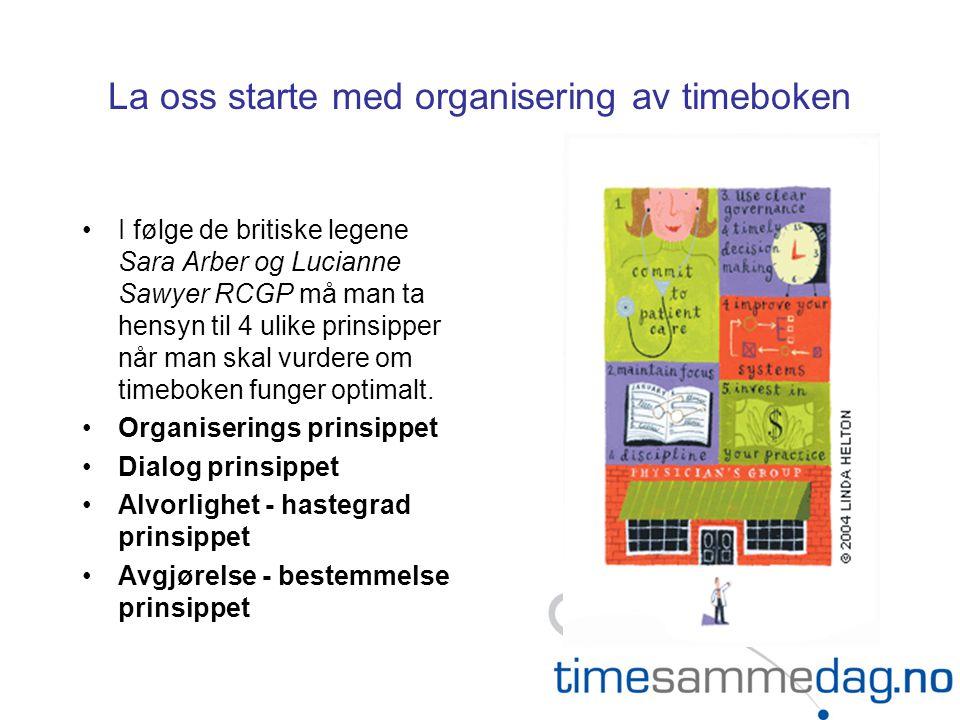 La oss starte med organisering av timeboken
