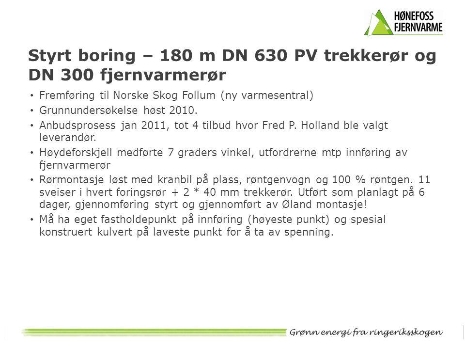 Styrt boring – 180 m DN 630 PV trekkerør og DN 300 fjernvarmerør