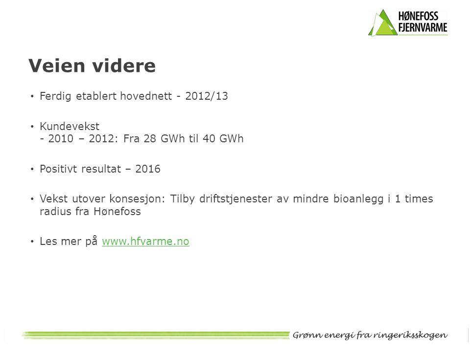 Veien videre Ferdig etablert hovednett - 2012/13